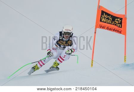 VAL GARDENA, ITALY - DECEMBER 14: Johannes Kroell of Austria races down the Saslong course during the Audi FIS Alpine Ski World Cup Men's Downhill training on December 14 2017