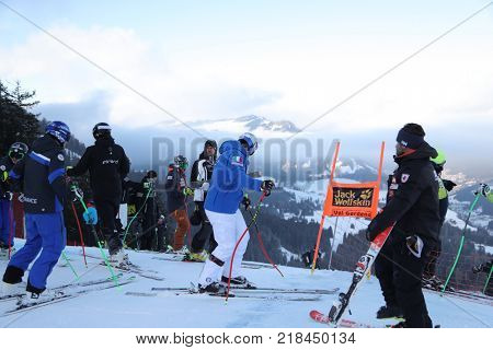 VAL GARDENA, ITALY - DECEMBER 14:  Dominik Paris of Italy during pre race course inspection for the Saslong course during the Audi FIS Alpine Ski World Cup Men's Downhill training on December 14 2017
