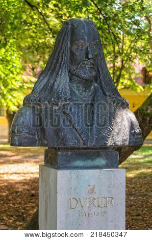 Bust of Albrecht Durer (Dürer) the Renaissance painter in Gyula where his father used to live before moving to Nuremberg -  Gyula, Hungary, 22 August 2011