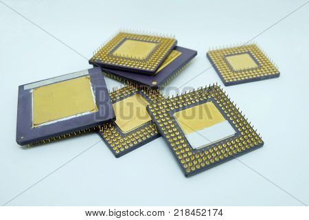 closeup old cpu processor computer on White background
