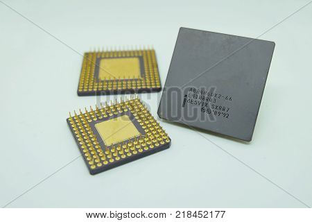 closeup old cpu processor on White background