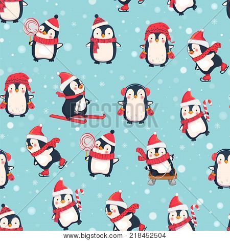 Seamless pattern with cute penguins. Animals pattern. Penguin cartoon on winter background.
