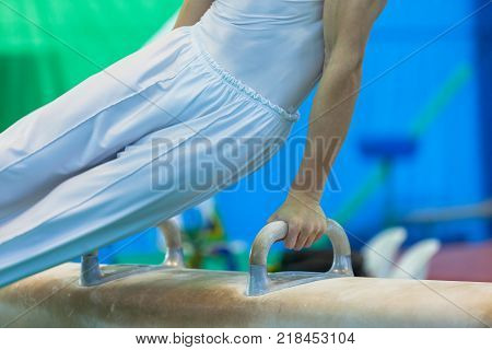 Gymnastics gymnast teenager male motion blur  closeup hands body unidentified competition routine on horse apparatus equipment poster