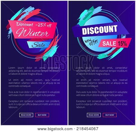 Discount -25 off winter and new offer, collection of creative web pages including labels with titles and text with buttons on vector illustration