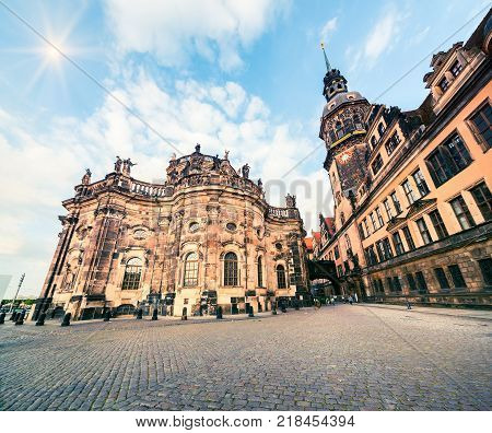 Residence of electors and kings of Saxony in Dresden. Majestic view of Castle or Royal Palace ( Dresdner Residenzschloss Dresdner Schloss ). Artistic style post processed photo.