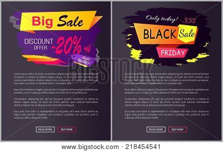 Only today big sale discount offer - 35 , -25 off Black Friday promotional web labels abstract geometric ribbons, color inscription vector illustrations