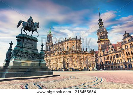 Colorful spring scene in center of the Dresden - Old Town place of residence kings of Saxony Dresden Castle (Residenzschloss or Schloss) Katholische Hofkirche Germany Europe.