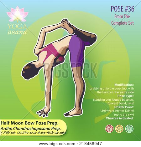Illustration of Yoga Exercises with full text description names and symbols of the involved chakras. Female figure showing the position of the body posture or asana in sitting position.