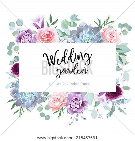 Stylish plum colored and pink flowers vector design card. Rose, purple carnation, bell flower, succulent, eucalyptus, orchid, brunia. Floral borders. Winter mood composition. All elements are isolated