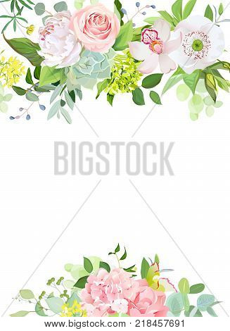 Green mix of hydrangea, succulents, echeveria, eucalyptus, wildflowers, white poppy, rose, peony, orchid, carnation, herbs and plants vector design frame All elements are isolated and editable