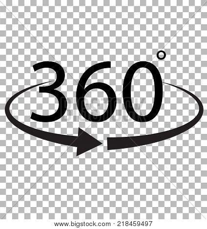 360 Degree icon on transparent background. 360 Degree sign. 360 symbol.