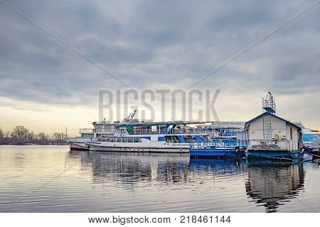 Boats on the Dnieper in Kiev Ukraine during a gray winter afternoon
