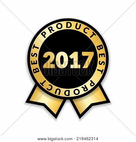Ribbon award best product of year 2017. Gold ribbon award icon isolated white background. Best product golden label for prize badge medal guarantee quality product Vector illustration