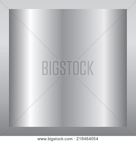 Silver gradient background. Silver design texture for ribbon frame banner. Abstract silver gradient template. Metal shine steel plate. Metallic light chrome pattern Vector illustration