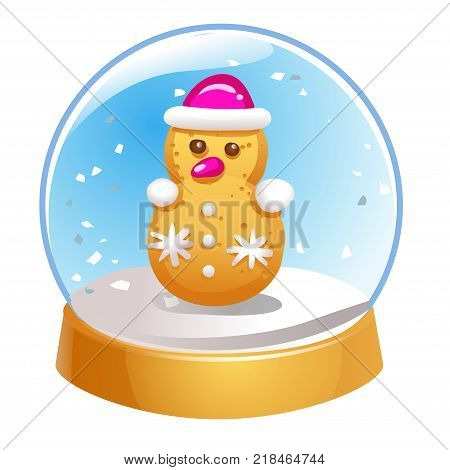 Snow globe with snowman inside isolated on white background. Christmas magic ball. Snowglobe vector illustration. Winter in glass ball crystal dome icon.