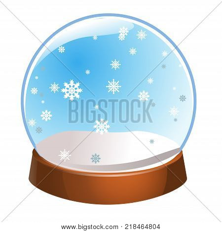 Snow globe with snowflakes inside isolated on white background. Christmas magic ball. Snowglobe vector illustration. Winter in glass ball crystal dome icon.