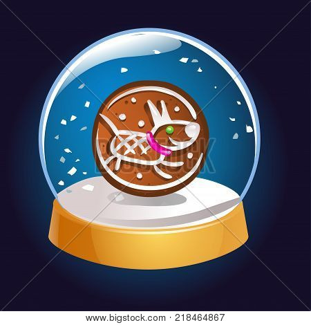 Snow globe with a dog symbol of 2018 inside. Christmas magic ball. Snowglobe vector illustration. Winter in glass ball crystal dome icon