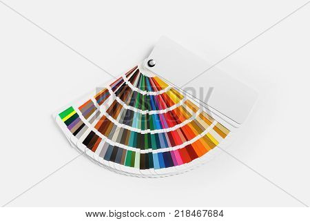 Color palette on white paper background. Guide of paint samples. Colored catalog. Flat lay.