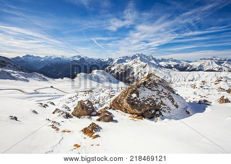 Snow covered pass in the Italian Dolomites Winter landscape of Passo Giau under Averau peak Belulo and Trentino area Dolomites South Tyrol Italy