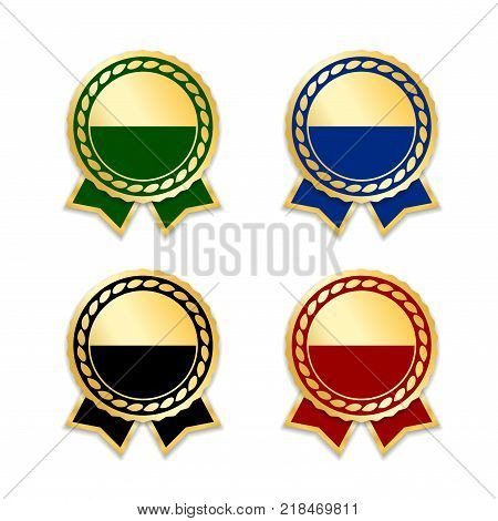 Award ribbons isolated set. Gold design medal label badge certificate. Symbol best sale price quality guarantee or success achievement. Golden ribbon award decoration Vector illustration