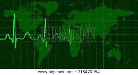 World map with cardio pulse vector concept of global change, crisis and disasters, news events politics weather and environment