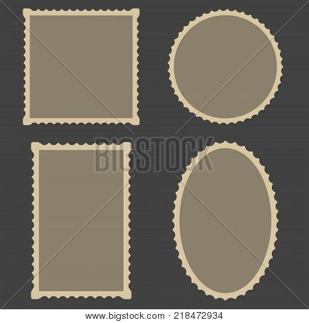 frame Blank Postage Stamps Set, vector for frame for decoration photo gallery, or picture