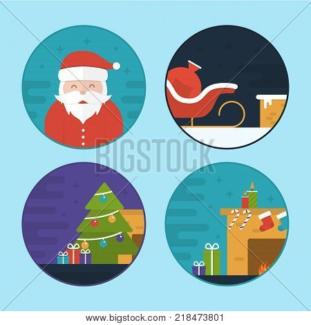 Flat Vector Illustration Set of Different Christmas Scenes. Santa Claus. Sledge, Gift Bag, Fireplace, Christmas Tree and Gifts
