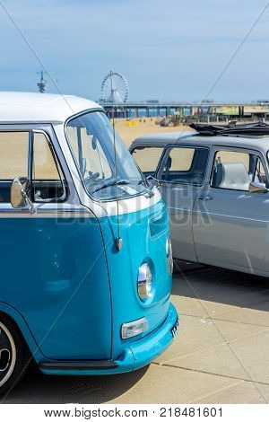The Hague the Netherlands - 21 May 2017: VW classic vehicles at Scheveningen beach