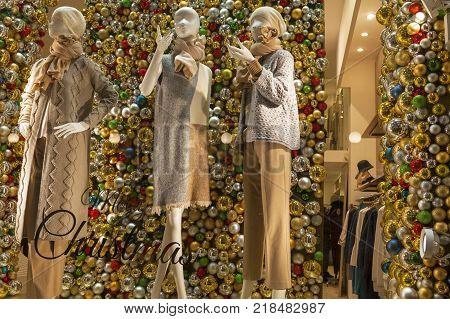 Christmas show window decoration of a street boutique