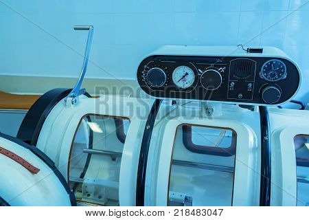 Hyperbaric Oxygen Therapy or HBOT chamber tank used for specialised medical treatment for injuries in hospital clinic