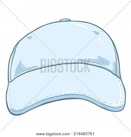 Vector Cartoon White Classic Blank Baseball Cap. Front View.