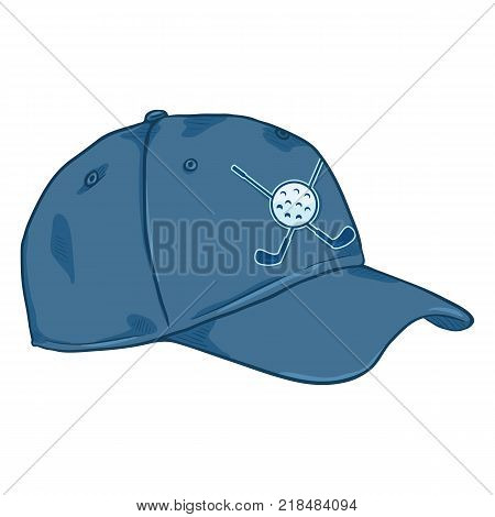 Vector Cartoon Classic Blue Baseball Cap with Golf Logo