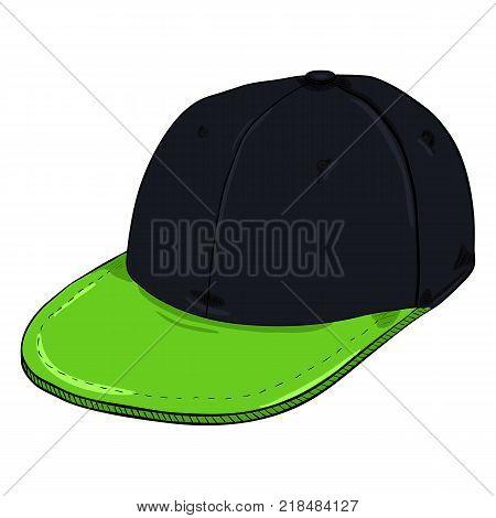 Vector Cartoon Black Retro Baseball Cap with Flat Green Peak. Hip-hop Headwear.