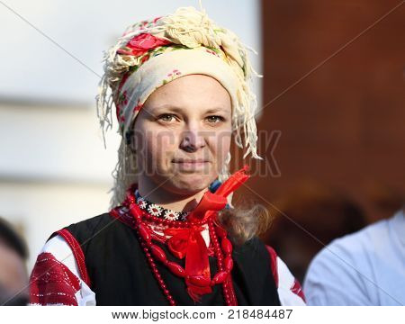 Belarus Gomel May 20 2017.Belarus Gomel May 20 2017. Holiday in the branch of the Vetkovsky Museum.Woman in Russian scarf.National Belarusian costume. Portrait of a Belorussian. Slav