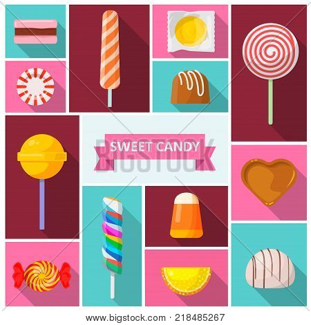 Sweet candy icon. Sweets and confectionery treats for kids, round lollipops made with sugar, confectioner s shop decor. Vector flat style cartoon illustration