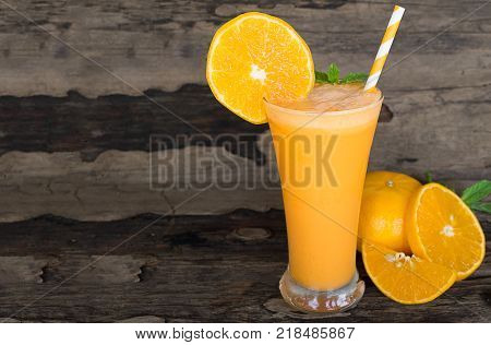 Orange yogurt, smoothies and orange fruits to lose weight On a white background.