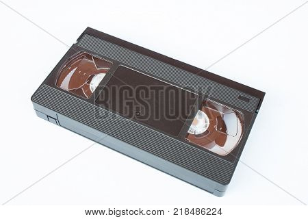 Old VHS Video tape cassette isolated on white background.