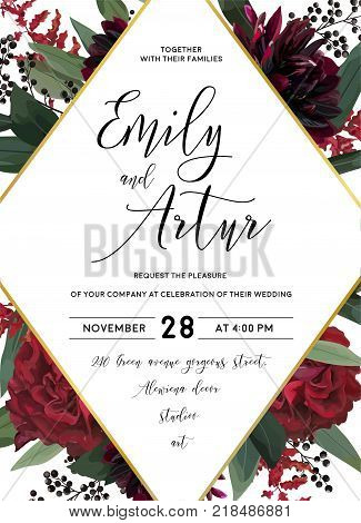 Wedding vector Floral invite invitation save the date vector card design: garden red burgundy rose flower eucalyptus greenery foliage branches berries boho stylish and rhombus geometric golden frame