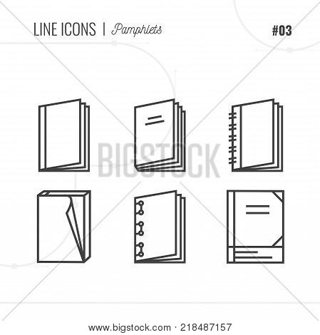 Vector Icon Style Illustration Of Pamphlets, Catalogs, Books, Isolated Object. Line Icons Set.