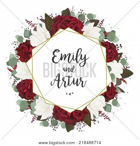 Wedding invite invitation save the date card design: white red burgundy rose flower seeded eucalyptus greenery foliage berries boho stylish bouquet and golden foil geometric frame. Vector template