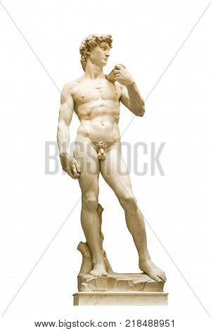 xxzs is a masterpiece of Renaissance sculpture created between 1501 and 1504 by Michelangelo Buonarroti Galleria dell'Accademia Tuscany Florence. Cultural heritage. Isolated object.