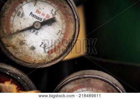 Rust meter style, industrial meter old gas