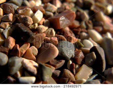 Beach in Montengro composed of stones of small fraction