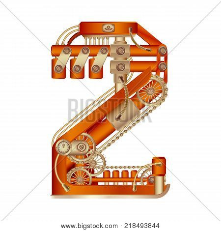 Arabic numeral 2, made in the form of a mechanism with moving and stationary parts on a steam, hydraulic or pneumatic draft. Isolated freely editable objects on a white background.