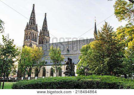 Beautiful basilica of Saint Peter and Saint Paul Vysehrad Prague Czech republic. Religious architecture. Travel destination.