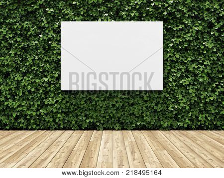 Billboard on green wall of plants. Vertical garden. 3D illustration.