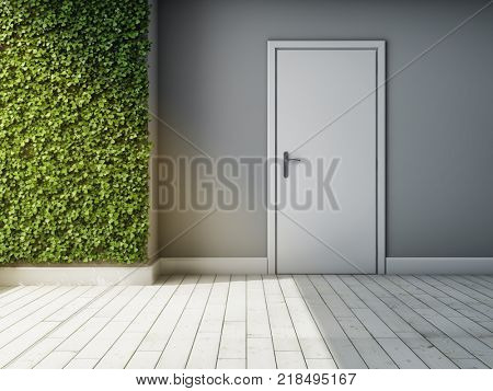 Interior of room with green wall of plants. Concept of vertical gardens. 3D illustration.