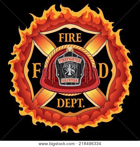 Fire Department Cross Vintage Red Helmet Volunteer with Flames is an illustration of a vintage fireman or firefighter Maltese cross emblem with a red volunteer firefighter helmet and badge in the foreground. Great for t-shirts, flyers, and websites.