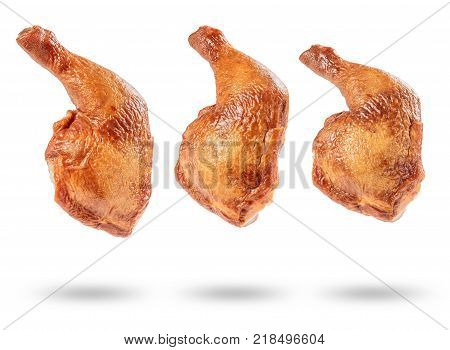 delicious smoked chicken thigh on white background