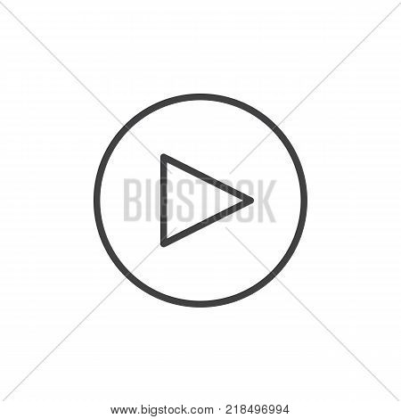 Play button line icon, outline vector sign, linear style pictogram isolated on white. Symbol, logo illustration. Editable stroke